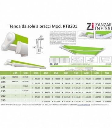 Tenda a bracci estensibili con barra quadra Mod. RTB 201