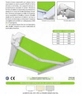 Tenda a bracci estensibili con barra quadra e cassonetto di protezione Mod. RTB 201 CE