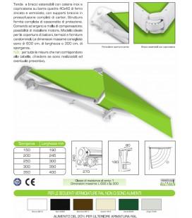 Tenda a bracci estensibili con barra quadra e cassonetto di protezione Mod. RTB 801 CE